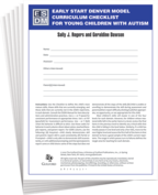 Early Start Denver Model Curriculum Checklist for Young Children with Autism - Sally J. Rogers and Geraldine Dawson